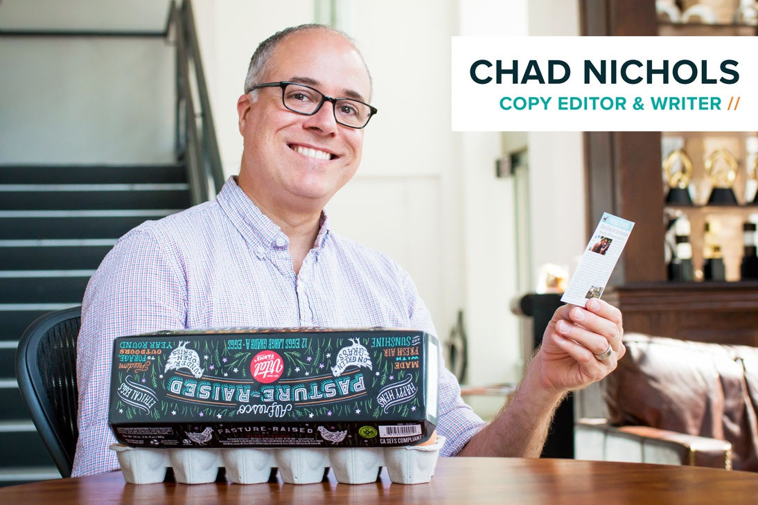 Copy editor and writer Chad Nichols with Vital Farms eggs