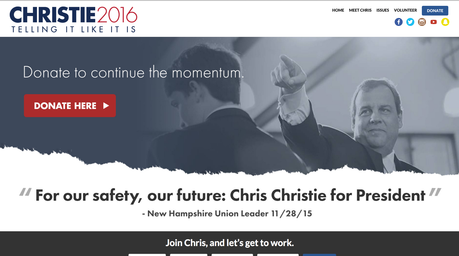 Chris Christie Homepage