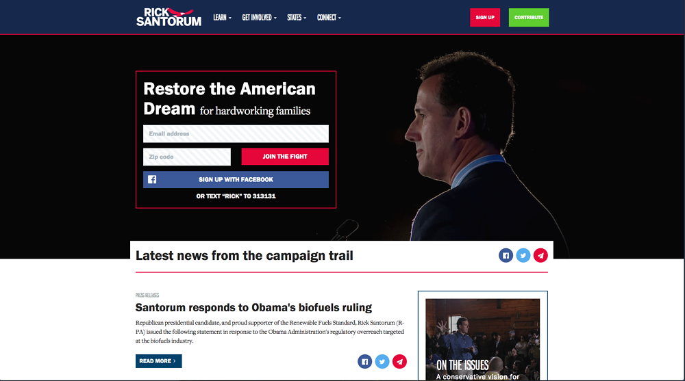 Rick Santorum Homepage