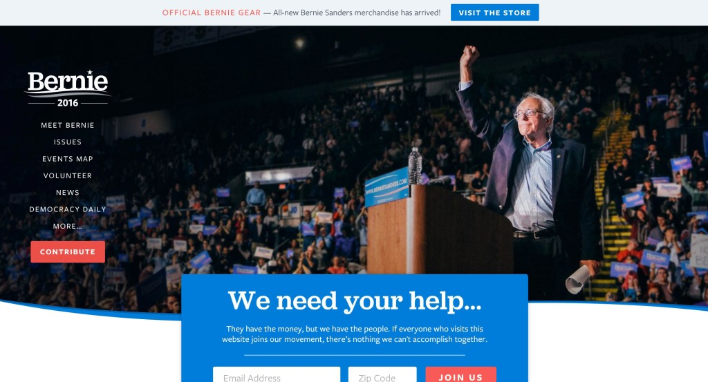 bernie sanders 2016 presidential election website