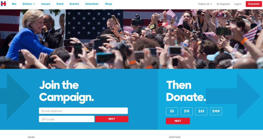 hillary clinton 2016 presidential election website