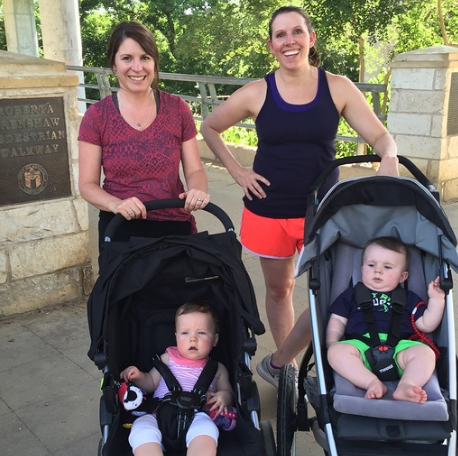 Maria Seaver and Megan Coffey with their babies, Charlie and Will