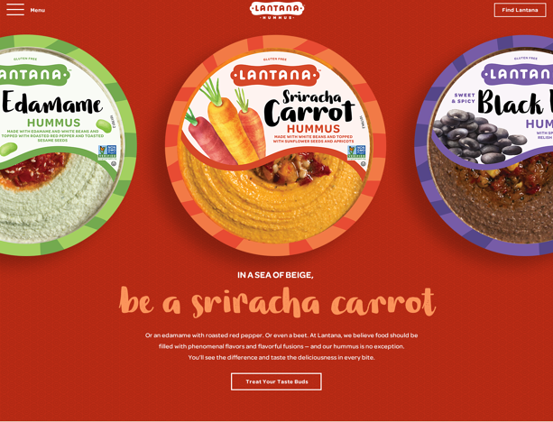 photo of lantana hummus website redesign, homepage